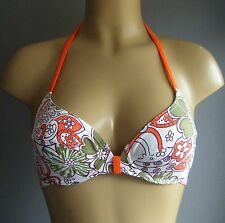 FREYA HALTER BIKINI TOP GIN FIZZ SIZE 32D GREEN/WHITE/ORANGE PLUNGE BRA 9701 NEW