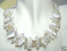 AAA Rare and abnormal shape white pearl necklace 17""