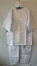 African Clothing Men Brocade 3Pcs Pant Suit Dashiki boho Plain White Free Size