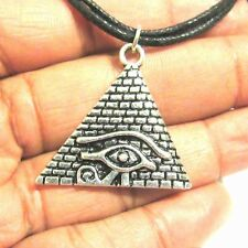 Eye of Horus Pyramid Necklace Antique Silver African Egyptian Ra Charm Choker