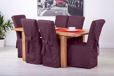 Set of 6 Purple Fabric Dining Chair Covers for Scroll Top High Back Leather