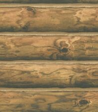 Log Wallpaper York Rustic Mountain Lodge Cabin 3D Realistic Wood Tan Brown Black