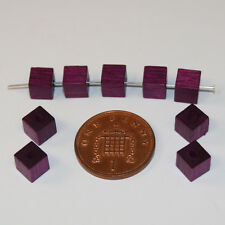 100 purple quality cube square natural Czech wood beads jewellery making 6mm