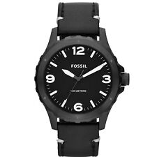 Fossil Men's JR1448 Nate Analog Black Dial Black Leather Quartz Watch