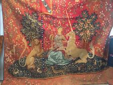 "Antique French Tapestry Dame a la Licorne La Vue 2/85 Large Size 8' 2"" X 7' 3"""