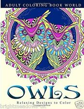 Owls Bird Adult Colouring Book Creative Art Therapy Wings Eyes Feathers Flight