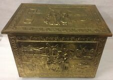 Antique Embossed Hammered Brass Coal Scuttle Firewood Kindling Box Trunk England