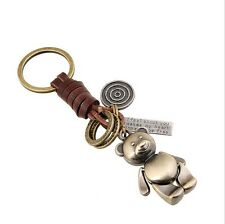Women Fashion Cute Beer Bronze Alloy Leather Weave Keychain Keyring Gift