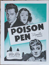 "FLORA ROBSON - ROBERT NEWTON  - ""Poison Pen""  Trade Ad -  1941"