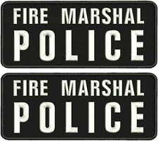 FIRE MARSHAL POLICE  2 EMBROIDERY PATCH 4X10 hook on back