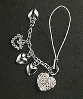 5 Crystal Hearts Cell Phone Charm For Mobile Phone New!
