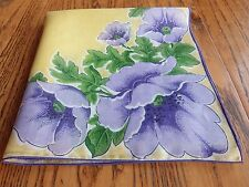 VINTAGE FLORAL LINEN HANKIE w PERIWINKLE FLOWERS ON YELLOW BACKGROUND