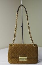 Michael Kors Dark Caramel Brown Quilted Suede Sloan Large Chain Shoulder Bag