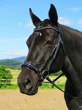 FSS ELLIPSE Crystal BLING CLEAR Curve Drop Noseband Comfort PATENT German Bridle