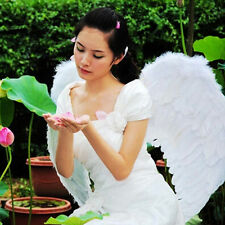 White Faux Feather Wings Angel Fairy Fancy Costume Dress Halloween Party Dec