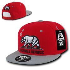Red & Gray California Republic Cali Bear Flag Flat Bill Snapback Snap Hat Cap