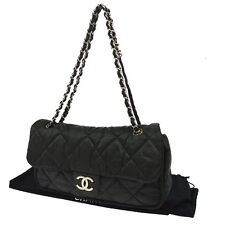 Authentic CHANEL Quilted CC Chain Shoulder Bag Black Coating Canvas Italy V13742