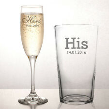 Personalised Engraved Pint & Champagne Glass (set of 2) - His & Hers Wedding