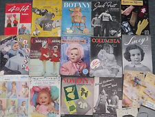 Lot 14 + Vintage Knitting Knits Crochet Magazines Patterns Kids Baby 1950s 1940s