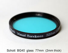 "Schott BG40 77mm UV/IR Cut Filter, Visual Bandpass, IR Suppression, ""Hot Mirror"""