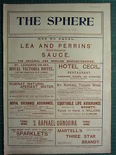 1900 VICTORIAN PRINT ~ ADVERTISEMENT ~ LEA & PERRINS' SAUCE HOTEL CECIL