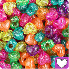 250pc Jelly Mix Sparkle 12mm Heart Pony Beads Made in the USA by The Beadery