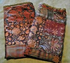 2 Ultra Rare Ralph Lauren Fairbridge Silk Patchwork Std Pillow Shams Org $495 ea
