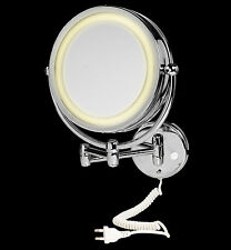 CROYDEX Wall Mount Illuminated Mirror in chrome 5 x Zoom for Shaving / Make Up