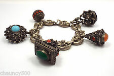 Antique 800 Silver Etruscan Fob Charm Bracelet, Coral & Turquoise & other gems