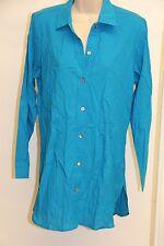 Tommy Bahama Swimsuit Cover Up Dress Boyfriend Shirt Sz M Blue Crinkle Cotton
