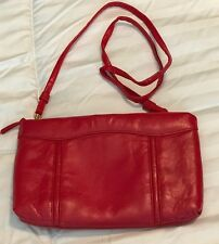 Purse Red faux leather with long strap extra outside pocket zipper