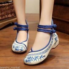Women Shoes Chinese Style Embroidery Casual Flat Soft Sole Cloth 39 EUR-8-8.5 US