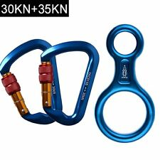 2Pack 30KN Screwgate Locking Climbing Carabiners & Reppelling Figure 8 Descender