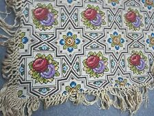 """Vintage European Hand Embroidered Cross Stitch Piano Shawl Tablecloth 36"""" Square"""