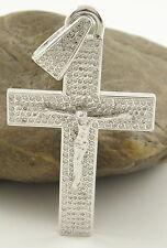 WERT 12500,- MASSIVES 2,50 CT BRILLANT JESUS KREUZ ANHÄNGER 585 14 KT WEIß GOLD