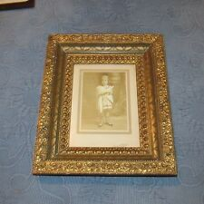 Ornate Antique Victorian Gold Aesthetic Picture Frame & Photo of a Girl