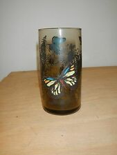 vintage smoky glass with butterflies juice drinking glass