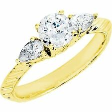 1.33 ct Round Diamond Engagement Solitaire 14k Yellow Gold Ring w/ 2 pear shapes