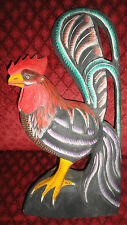 """Bright and Colorful Large Hand Carved Folk Art Wooden Rooster Chicken 20"""" Tall"""