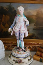 WONDERFUL EARLY LARGE PARIAN / BISQUE HAND PAINTED MALE FIGURINE IN PERIOD DRESS