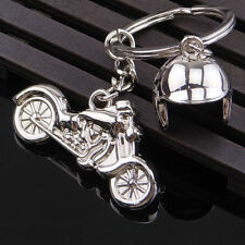 New Creative Silver Motorcycle Keychain Alloy Pendant Metal Helmet Key Ring