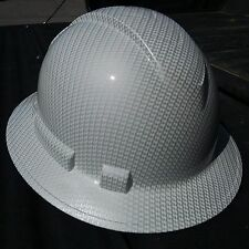 FULL BRIM Hard Hat custom hydro dipped , NEW WHITE CARBON FIBER  HOT NEW HYDRO