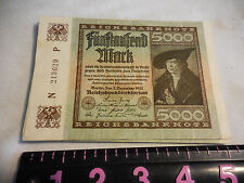 German Weimar 5000 Mark Banknote 2 December 1922 Hyperinflation,Circulated