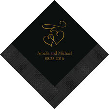 100 Double Hearts Personalized Wedding Cocktail Napkins