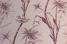 Exotic Antique French Bird & Insect Home Dec Toile Printed Fabric Panel c.1880