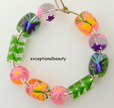 Hand Painted Lampwork Glass Pastel Spring Flower Butterfly Star Leaf  Art Beads