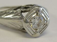 14 K WHITE GOLD .25 CT DIAMOND  SOLITAIRE FILIGREE RING, ART DECO, 6.5 SIZE+