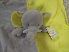 Okie Dokie yellow gray white Blanket Rattle Plush Toy Elephant / Hugs