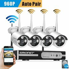 WIRELESS wifi 4ch 1TB NVR CCTV Security Camera system 960P Outdoor Night vision