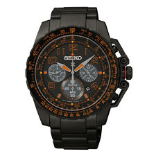 New Seiko SSC277 Prospex Black Stainless Steel Solar Chronograph Men's Watch